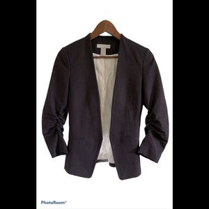 H&M open front blazer with sleeve ruching